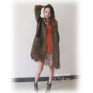 手工编织毛衣款式之慵懒随性流苏款云点女士棒针开衫毛衣外套