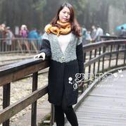 女士长款毛衣之黑白款棒针女士开衫毛衣的织法