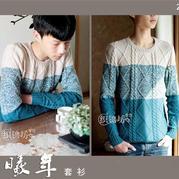 男士毛衣编织实例之手工编织淘宝爆款拼色巴素兰羊毛套衫