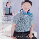 女士高腰镂空花短袖开衫