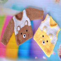 漂亮宝宝毛衣之棒针绒绒线轻松熊长袖毛衣无袖马甲二合一(4-4)宝宝毛衣编织视频教程