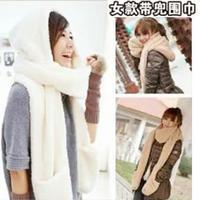 最简单的织围巾教程之成人韩版带兜带帽围巾打法(2-1)绒绒线织围巾视频