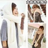 最简单的织围巾教程之成人韩版带兜带帽围巾打法(2-2)绒绒线织围巾视频