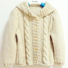 最想编织的儿童毛衣之幼儿甜美棒针连帽开衫毛衣织法