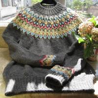 从上往下织圆肩毛衣之从领口开始棒针编织的VK2016新款提花毛衣
