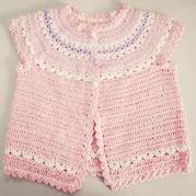 从上往下织圆肩毛衣之漂亮宝宝钩针无袖小开衫