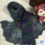 钩织结合菠萝花女士围巾编织教程