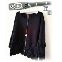 LK150快乐编织机作品之钩机圆领女士毛衣编织款式