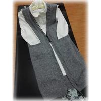 女士长款毛衣之灰色棒针手工编织时尚长款背心