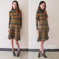炫彩春裙季之高领收腰简约时尚棒针毛线裙织法
