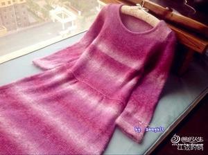 紫色温柔--银笛LK150机织款之段染长袖冬裙