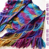 彩蝶翩翩飞棒针流苏毛线编织披肩(2-1)手工编织女士披肩视频教程