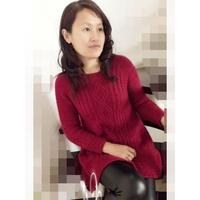 成人毛衣编织实例详解之从上往下织圆领宽下摆毛衣