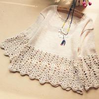 女士钩织结合长袖毛衣编织款式