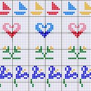 小船,心形,花朵的提花图案