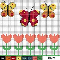 棒针提花图样——蝴蝶和郁金香