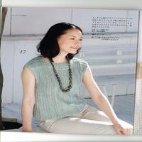 女士蓝绿段染棒针横织短袖衫