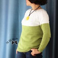 毛衣编织视频教程之棒针萌芽从下往上织女士圆肩毛衣(4-4)