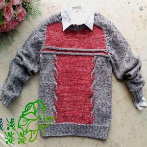 儿童毛衣编织款式之棒针马鞍肩拼色男童毛衣编织方法