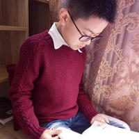 手工编织淘宝热款韩版男童棒针圆领毛衣