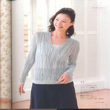 女士棒针横织鸡心领长袖套衫