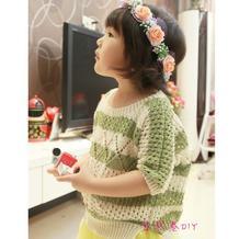 女童春夏棒针毛衣之乐天款条纹菱形花落肩短袖毛衣