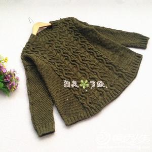 成人毛衣编织实例详解之女士复古绞花圆摆毛衣