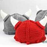 钩针宝宝牛角帽(2-1)宝宝毛线帽编织视频教程