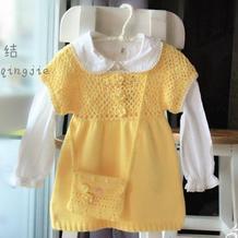 云棉2柠檬黄钩织结合儿童短袖裙衣
