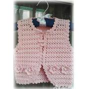 儿童春夏编织毛衣款式之云棉2粉色钩针宝宝马甲