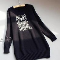 最新女士毛衣编织款式之呆萌可爱棒针猫头鹰图案长毛衣