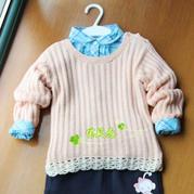 儿童春秋毛衣编织款式之云棉2儿童肩开扣圆领毛衣
