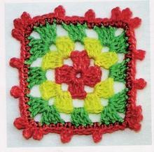 钩针多色方形单元花