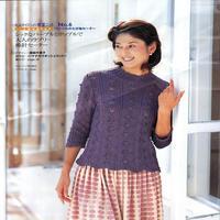 女士紫色棒针七分袖镂空花紫套头衫