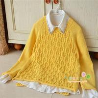 2016春季女士毛衣编织款式之糖果色萌黄镂空套头毛衣