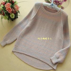 女士春秋编织流行时尚圆摆长袖毛衣