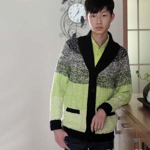 帅气男士毛衣编织款式之仿C&A青果领开衫毛衣