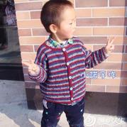 幼儿园男女宝宝都适合的钩针三色开衫外套毛衣编织教程