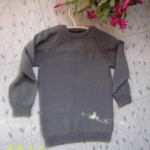 云棉2儿童棒针毛衣款式之从上往下织圆低领毛衣