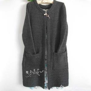 手工编织女士毛衣款式之棒针深灰色驼绒大衣外套毛衣
