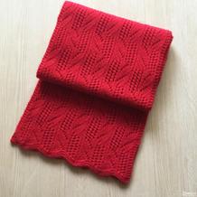 手工编织围巾之云绒团线棒针织玫瑰叶花样围巾