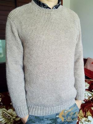 简约大气长袖圆领春秋男士棒针毛衣款式
