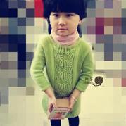 儿童毛线裙之萌芽棒针七分袖直筒裙