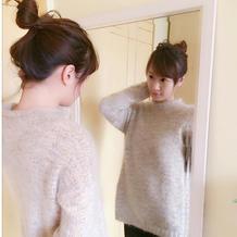欧式宽松卷边领长袖套头毛衣的编织方法