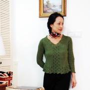 优雅女士棒针V领毛衣 欧洲风春夏流行毛衫编织封面款改版