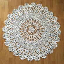 居家浪漫软装之圆形全棉钩针蕾丝桌布图解教程