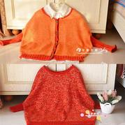 时尚手编亲子毛衣之母女棒针蝙蝠衫式套头与开衫毛衣