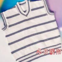 新手入门编织视频教你织儿童简洁条纹夹色V领背心(3-1)
