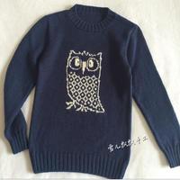 手工编织男孩毛衣款式之棒针猫头鹰图案套头衫