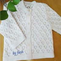 婴幼儿毛衣开衫织法教程之云棉2白色棒针宝宝镂空花毛衣